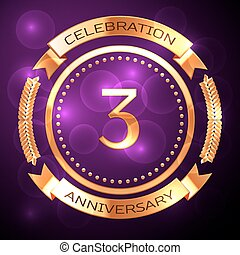 Three years anniversary celebration with golden ring and ribbon on purple background.