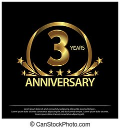 three years anniversary golden. anniversary template design for web, game ,Creative poster, booklet, leaflet, flyer, magazine, invitation card - Vector