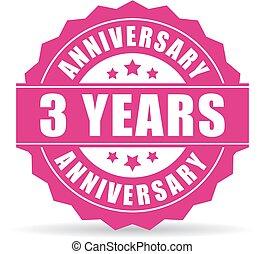 Three years anniversary icon