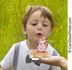 One kid at three years anniversary in nature