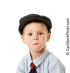 Portrait of Three years serious boy isolated on white