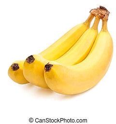 Three yellow Bananas ripe Isolated Located cascade on White