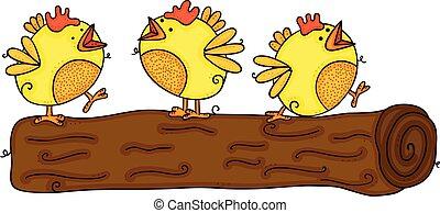 Three yellow birds on tree stump trunk