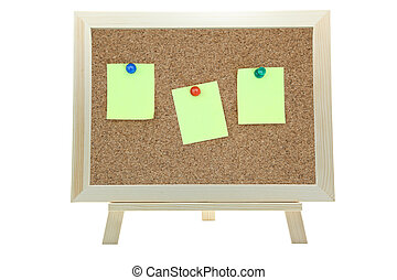 three yellow memo sticker on notice cork board