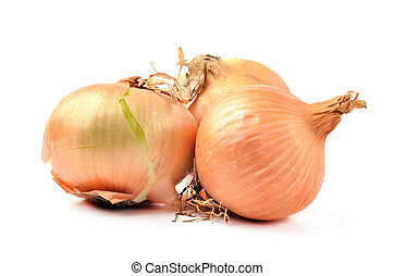 Three yellow onion isolated on white background