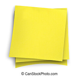 three yellow sticky notes against white background, gentle shadow underneath