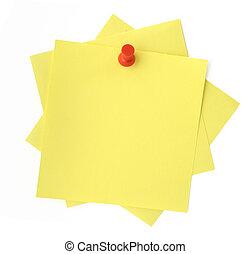 three yellow sticky notes thumbtacked to white background