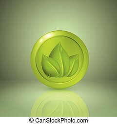 Three yellow style leaves. Icon for app or web design