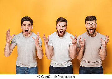 Three young angry men screaming