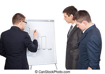 Three young business men and a flipchart isolated on white...