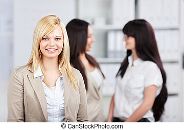 young businesswomen talking in the office
