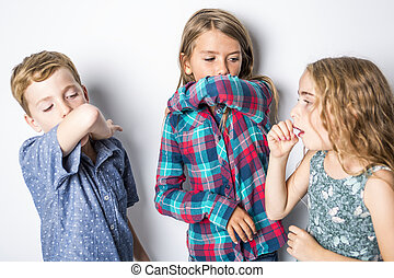 Three young child having a cold
