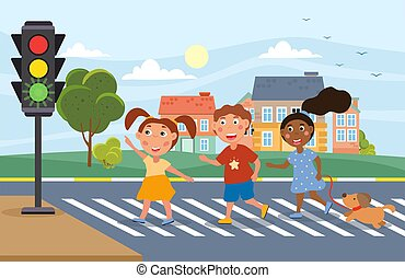 Three young children crossing at a traffic light