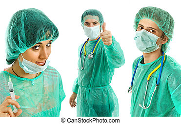 doctors - three young doctors, isolated on white background