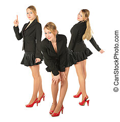 Three young girl in suit, collage