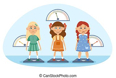 Three young girls being weighed on scales, with one too thin and one overweight looking unhappy and the centre girl smiling happily, colored cartoon vector illustration