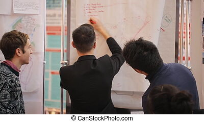 Three young men discussing something at a flipchart. They...