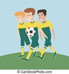 three young soccer players male characters vector