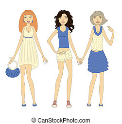 Three young stylish women