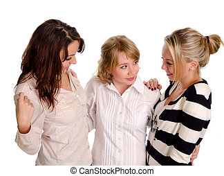 Three young woman friends chatting