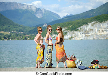 Three young women at the beach