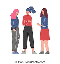 Three Young Women Talking and Discussing, Meeting of Friends or Colleagues, Girls Sharing Gossips Vector Illustration on White Background
