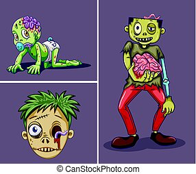 Three zombies on gray background