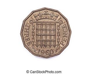 threpenny, mynt, från, storbritannien, 1960