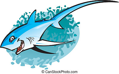 thresha, tubarão, caricatura