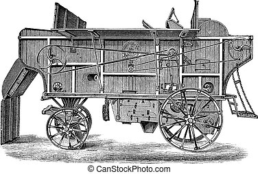 Thresher machine (Hornsby) vintage engraving - Old engraved...