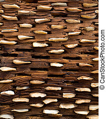 threshing board of aged wood and stones texture - threshing...