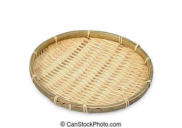 Threshing rattan basket on white background