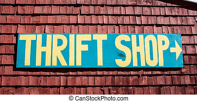 Thrift shop sign in the United States of America
