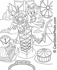 Thrill from a free fall from this tower. Coloring book black...