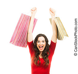 Thrilled beautiful woman Christmas shopping. - Portrait of a...