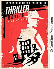 thriller, conception, film, affiche, créatif, exposition