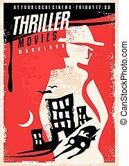 thriller, diseño, película, cartel, creativo, exposición