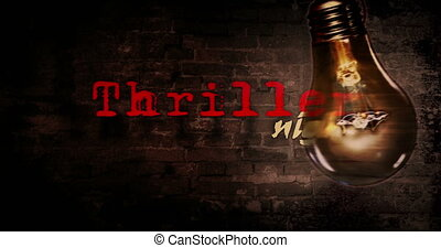 Thriller movie night intro and background. Opener for cinema event with large blinking bulb and old brick wall. Spooky atmosphere animation.