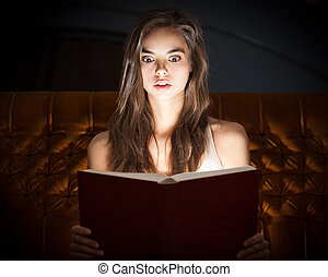 Thriller. - Gorgeous shocked looking young brunette woman...