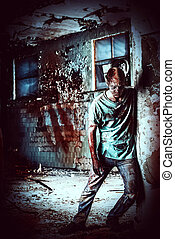 thriller - Horrible scary zombie man on the ruins of an old...