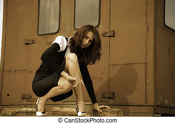 thriller - young woman and an old rusty van