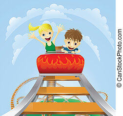 Thrilling roller coaster ride - Illustration of a boy and...