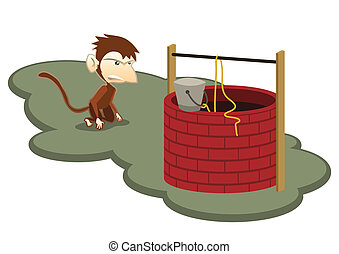 Thristy Monkey and Water Well Illustration in Vector