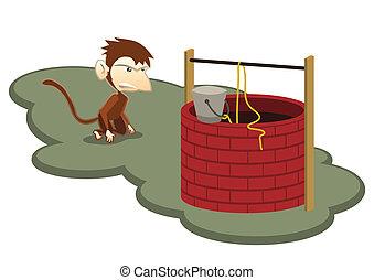 thristy, singe, puits, illustration, eau, vecteur
