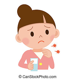 Throat pain concept. Young woman with touching her throat