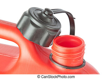 Throat red jerry cans for of fuel. On a white background.