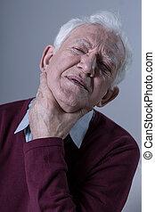 Senior with throat sore