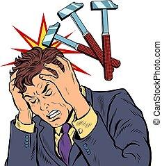 throbbing headache man. hammer blows. Pop art retro vector ...