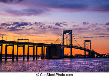 Throgs Neck NYC - Colorful sunset over Long Island Sound and...