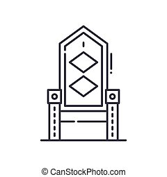 Throne icon, linear isolated illustration, thin line vector, web design sign, outline concept symbol with editable stroke on white background.